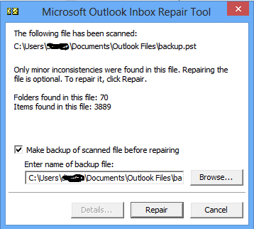 scanpst.exe outlook 2000