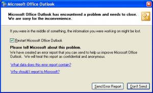 Microsoft Outlook has encountered