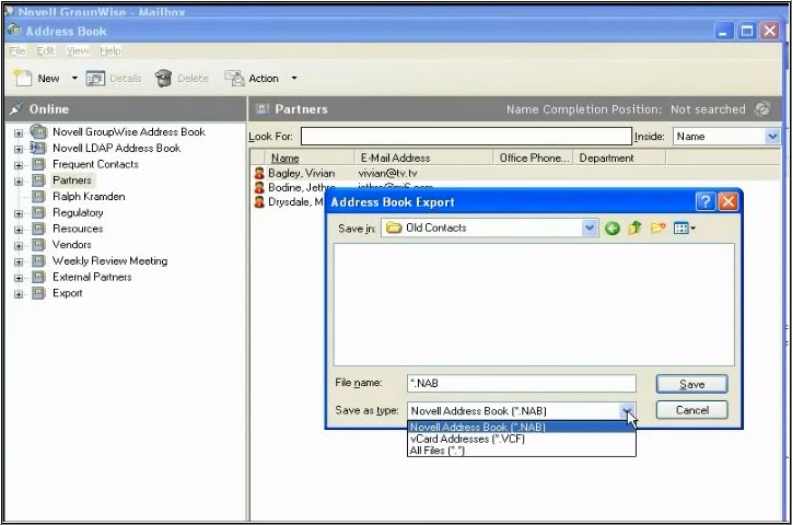 Import Address Book of Novell's Groupwise into MS Outlook