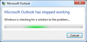 Error Outlook stopped Working