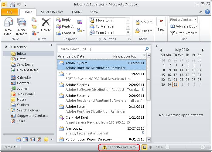 Outlook 2010 Address Book Slow