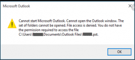 Outlook File Access Denied error