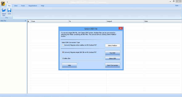 Stellar Converter for DBX screenshot