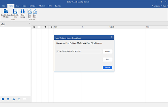 Stellar Undelete Email for Outlook screenshot