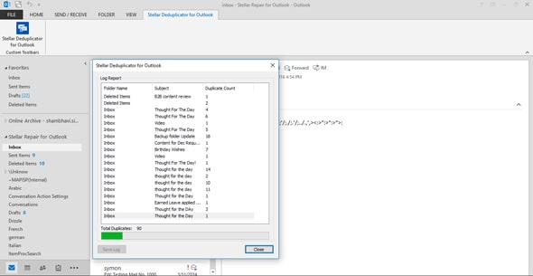 Stellar Deduplicator for Outlook screenshot